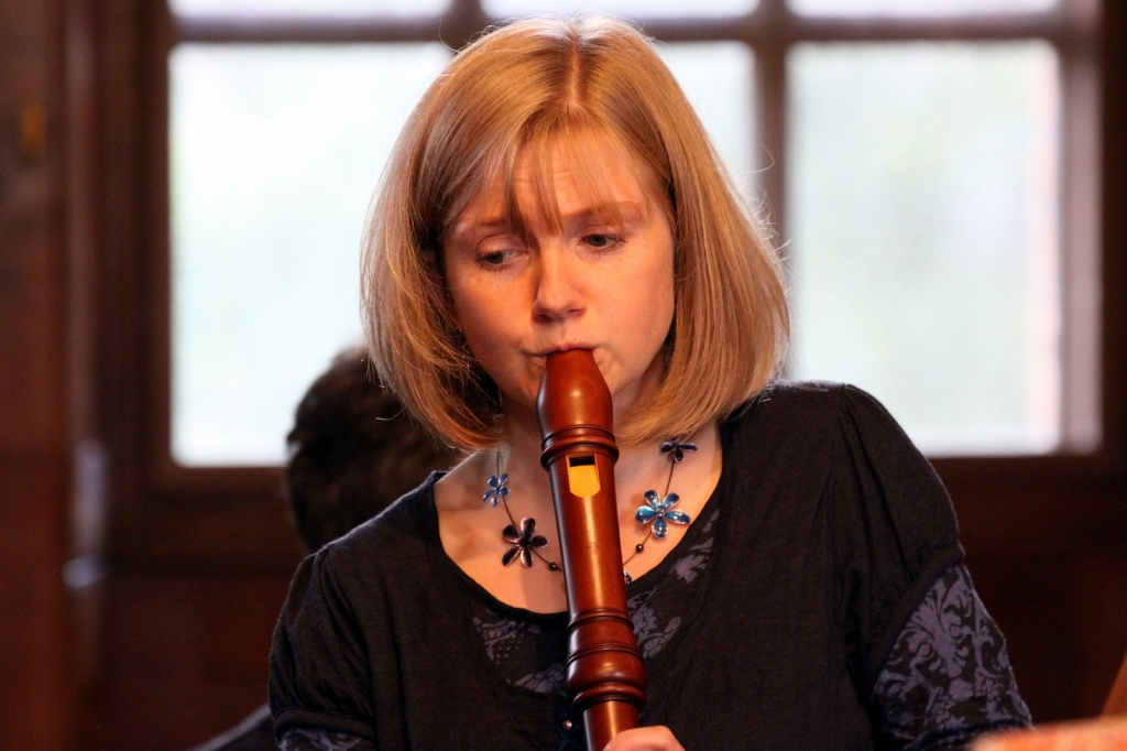 Annabel Knight playing recorder