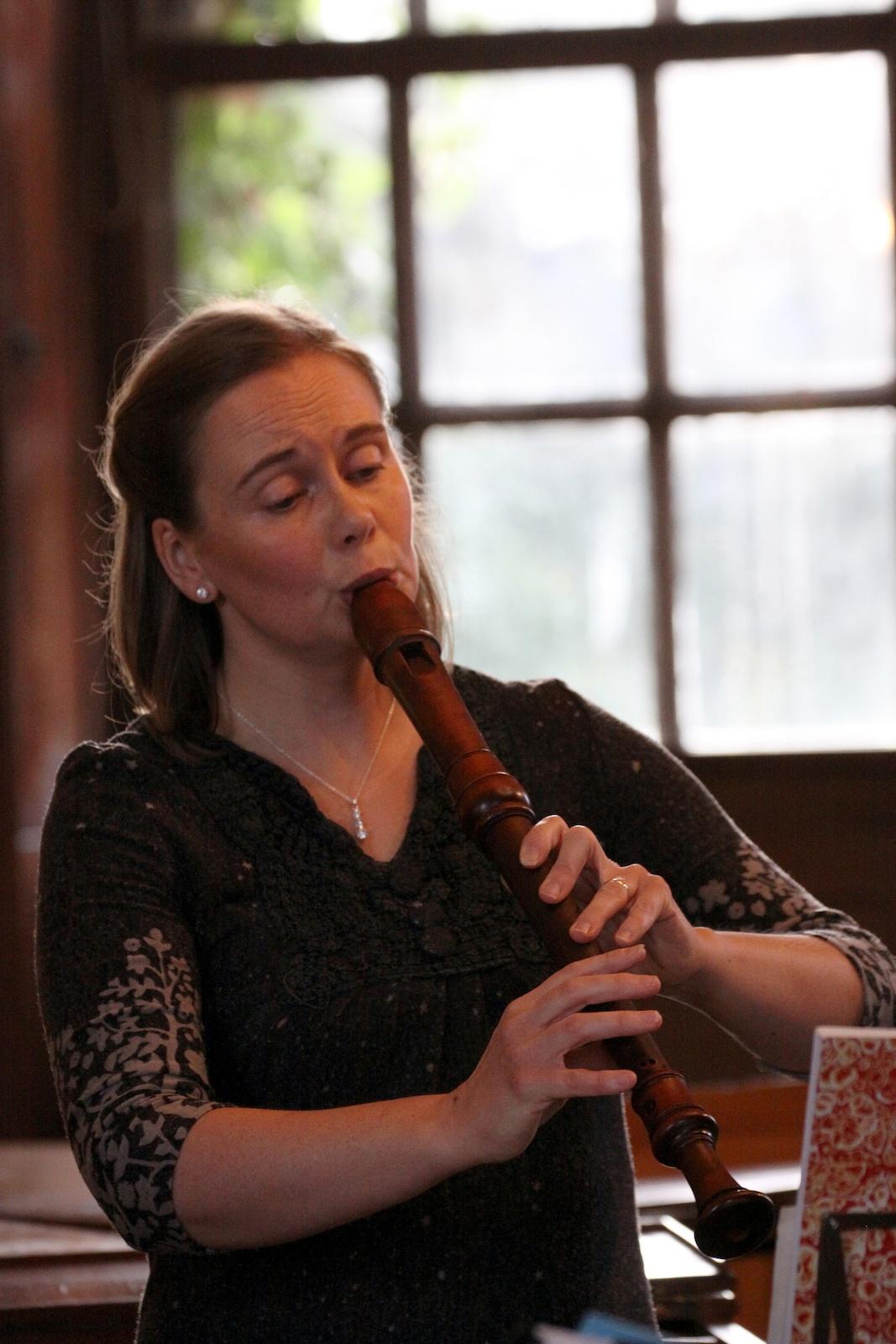 Louise Bradbury playing recorder