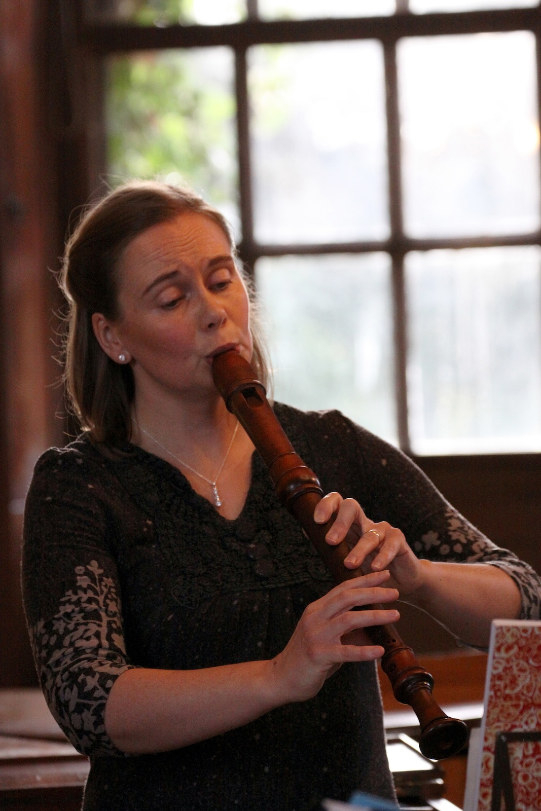 Louise Bradbury playing recorder
